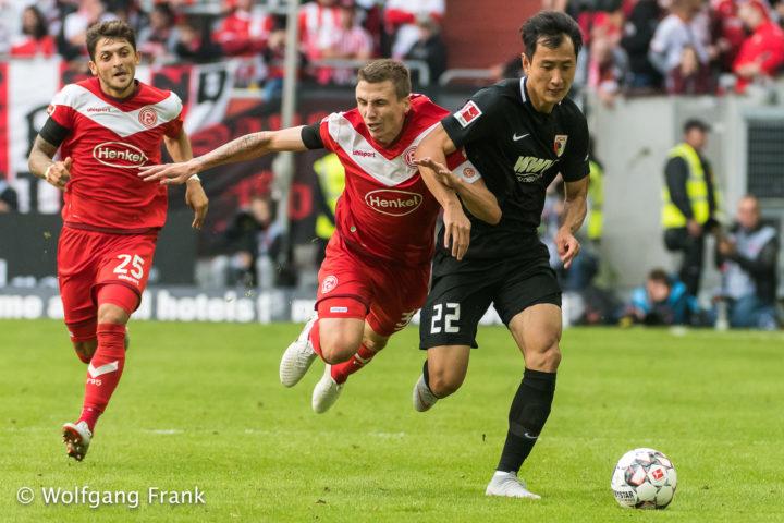 Fortuna Duesseldorf vs. FC Augsburg , Fussball, Herren, 1.Bundesliga, 1.Spieltag, Saison 18/19,  GER, 25.08.2018
